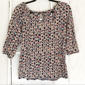 Lucky Brand3/4 Sleeve Pull on Patterned Top Blouse